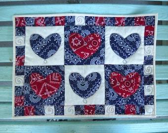 Americana Bandanna Quilted Trivet, Handmade Quilt