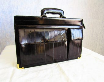 80s eelskin Leather Attache Briefcase black
