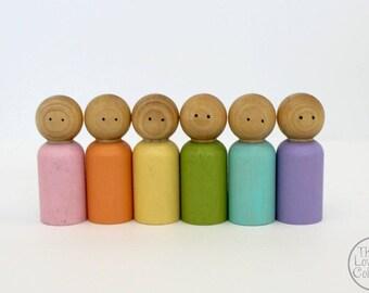 Wood Peg People Set - Pastel