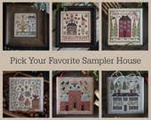 Pick One PLUM STREET SAMPLERS Sampler House 1 2 3 4 5 6 i ii iii iv v vi counted cross stitch patterns at thecottageneedle.com
