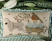 New! WITH THY NEEDLE Welcome Spring! counted cross stitch patterns at thecottageneedle.com Easter 2018 Nashville Market