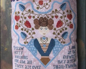 Pre-order 2018 Nashville Market KATHY BARRICK Strawberry Blossoms counted cross stitch patterns at cottageneedle.com Mother's Day Hart