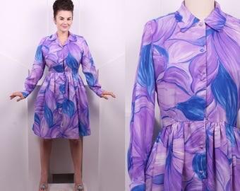 Vintage 1960's Purple Floral Malia • 60's Long Sleeve Shirt Dress • Size M/L