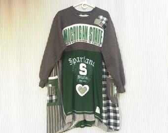 Upcycled Game Day Sweatshirt Dress, MSU Sweatshirt Tunic