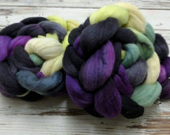 Maleficent 4oz Silver Sparkle Superfine 18.5 micron Merino Wool Silver Stellina Spinning Fiber Combed Top Roving Purple Black Green