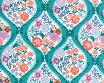 Kate Spain Voyage Fabric by the Yard, Meuse in Turquoise Blue, Moda Fabrics, 27280-11