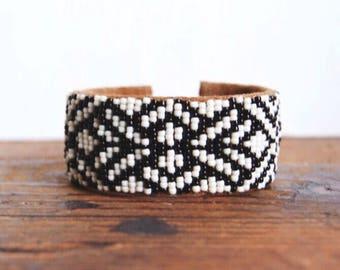 WBC-02,one of a kind handmade Native American inspired adjustable geometry beaded cuff bracelet