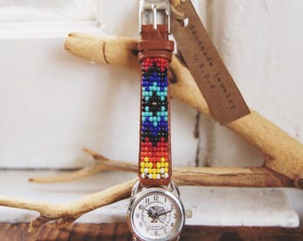 BLW-19, Native American inspired hand-beaded genuine leather indian face watch