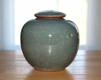 Urn/ cremation urn/ human ashes/ pet ashes/ pottery/ blue gray/ stoneware/ ceramic/ ceramic urn/ handmade urn/ blue urn/ covered jar