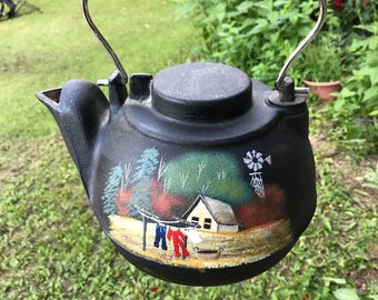 vintage black cast iron kettle swivel top wood stove kettle farm kettle
