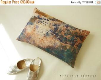 "ON SALE Coral pink pillow / Sea seen by hill / Linen oblong art pillowcase 14""x 22"" ...  /  FRAGMENTS"