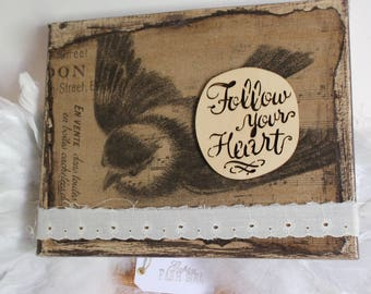 Follow Your Heart, Canvas Artwork, Multimedia, Frame with Bird, Wings, Flight, Vintage Lace, Collage, Mixed Media, Motivational, Gift