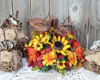 Fall Pumpkin Centerpiece,  Metal pumpkin with Sunflowers, Pumpkins, Mums, Autumn centerpiece, Fall Flowers, Farmhouse Decor, Thanksgiving