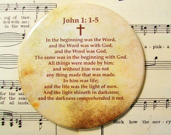 John 1: 1-15, Scripture Art, In the Beginning was the Word, Large Magnet, Refrigerator Magnet, Scripture Magnet, Scripture Gift