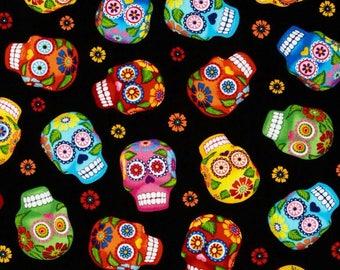 "Sugar skulls on black Valance or Panel Cotton Print 12"" 14"" 18"" 24' 32"" Lined or Unlined"