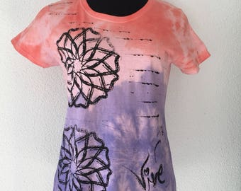 Positive Vibes Mandala  Tie Dye Screenprinted Unique Vive Tshirt, Colorful & Inspiring