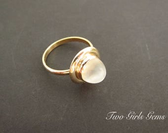 Vintage Moonstone ring, Moonstone cabochon,  Two Girls Gems