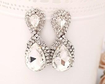 Silver Plated, Bridal Earrings, , Bridesmaid Earrings, Prom Earrings, Party Earrings