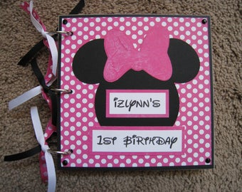 Disney Autograph - Guest Book - Minnie Mouse - Chipboard - Bright Pink Polka Dot