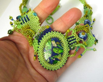 Green statement necklace Gift for her Freeform beadwork Boho jewelry Green and blue handmade necklace Beaded jewelry