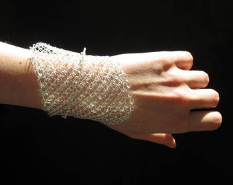 Wire crochet bracelet, statement asymmetric modern silver plated wire mesh cuff bracelet,  bridal jewelry, gift for her