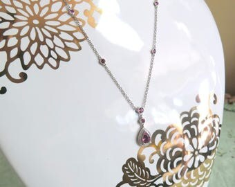 14k White Gold, Diamond, And Pink Tourmaline Necklace
