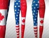 Made To Order, Custom Handpainted Canada / USA Flag Leggings