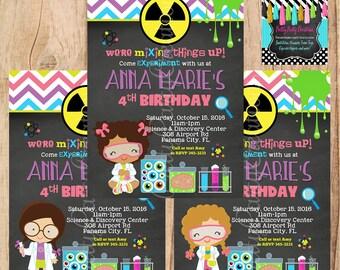 JUNIOR SCIENTIST GIRL invitation  - You Print