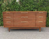 """Mid Century Kent Coffey """"The Tableau"""" long dresser with mirror"""