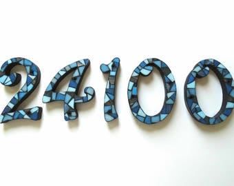 """Set of 5 Mosaic Numbers, Outdoor House Numbers, 6"""" Mosaic Numbers, Address Numbers"""