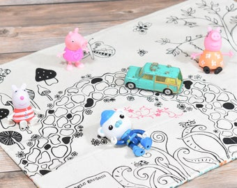Magic Garden Play Mat, Montessori Play, Eco-Friendly Play Mat, Girls Play Mat, Girls Travel Toys, Organic Play Mat, Girls Busy Board,