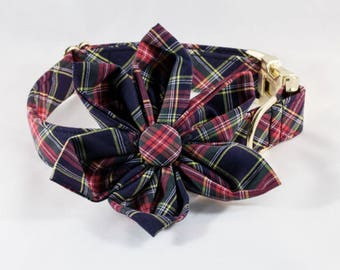 Classic Black and Red Plaid Red and Black Girl Dog Flower Bow Tie Collar, Holiday Christmas Tartan Plaid