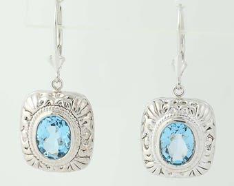 Blue Topaz Drop Earrings - 14k White Gold Leverback Closures Pierced 5.00ctw U0093