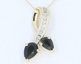 "Onyx & Diamond Pendant Necklace 18 1/2"" - 14k Yellow Gold Prince of Wales Chain U1607"