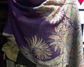Nemesis Vintage Purple Paisley Brocade Pashmina Scarf Wrap shawl