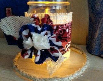 Decorated Mason Jar, Decorative Jar with Red Bandana Fabric and Burlap, Table Decor, Texas Farmhouse Decor, Rustic Country Decor