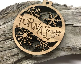 Family Name - Last Name Customizable Christmas Ornament - Engraved Birch Wood Ornament