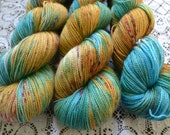 Sock yarn hand dyed merino nylon fingering yarn 4 ply variegated flecked speckled yarn superwash