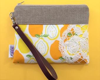 Ready to Ship - Lemons Wristlet Vintage Lace