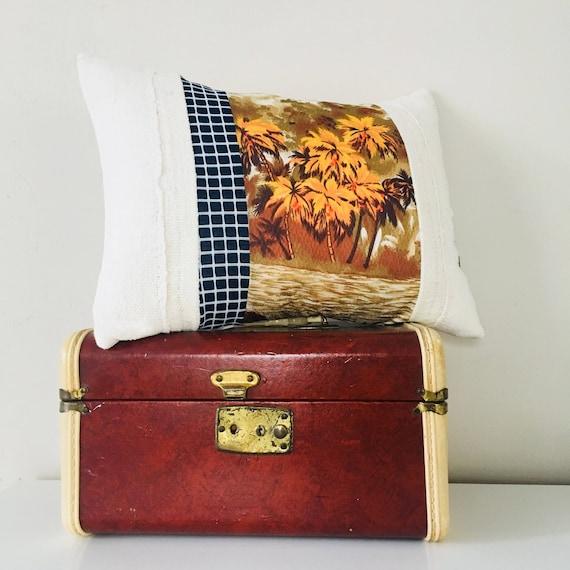 "Vintage Hawaiian Orange Pillow Cover 13""x18"" Lumbar Cushion Pillow Mid Century Modern Brown Hawaiian Palm Trees Beach Scene Navy Blue"