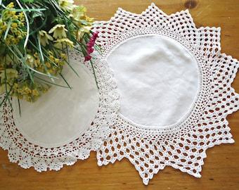 2 Linen Doilies Crocheted Trim Centerpiece White  G9