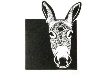 Linocut animals, donkey, ezel, hand printed wall art, matted, ready to frame, animal print