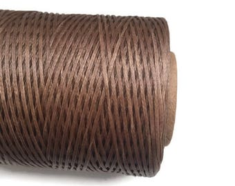 Camel Brown Polyester Thread, Camel Brown Waxed Cord, Macrame Cord, Brown Waxed Polyester Cord  (1mm) 10m -11yards S 40 221