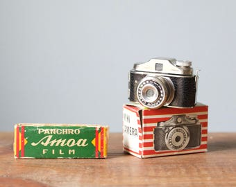 Rare Vintage 1950s Japan Subminiature Arrow Spy Camera with Box and Panchro Amoa Film Rolls