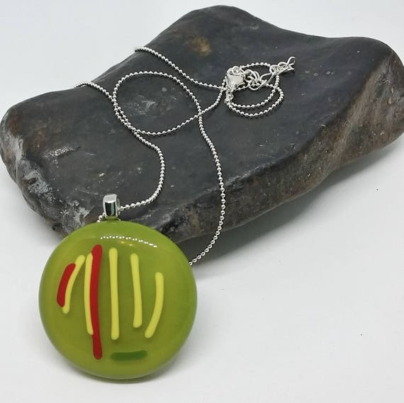 Green Striped Glass Pendant with Silver Chain
