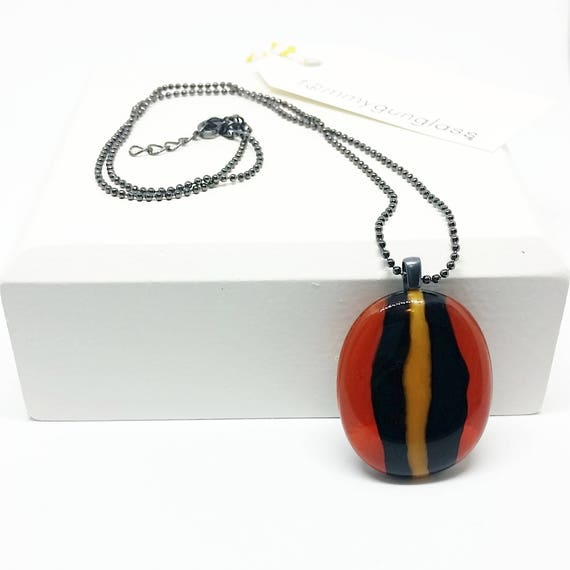 Orange and Black Striped Glass Pendant with Silver Chain