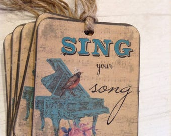Sing Your Song Shabby Sentiment Tags, Birdie Hang Tags, Shabby Chic Tags, Packaging, Gift Wrap, Gift Bag Tag, Set of 9
