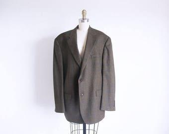 ON SALE Vintage Men's Suit Jacket, 80s Plaid Jacket, Mens Wool Coat, Olive Blazer, Size X Large Blazer