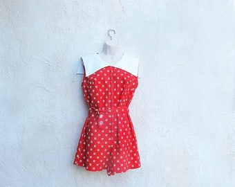 1/2 Off SALE Vintage 60s Red Romper, 1960 Cotton Culottes, Sailor Collar Playsuit, Made in Japan