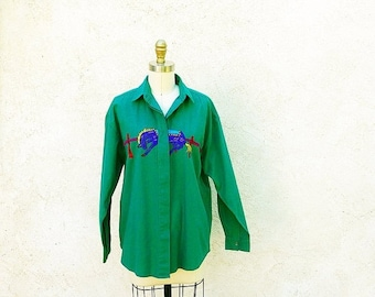 1/2 Off SALE Cotton Ranch Shirt, Ladies Emerald Green, Embroidered Horse, Long Sleeved Button Down Top